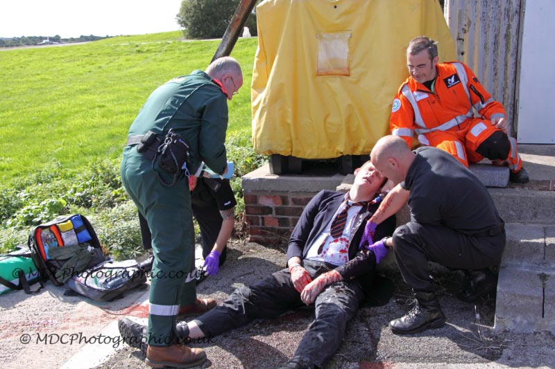 "BASICS member attending to a ""casualty"""